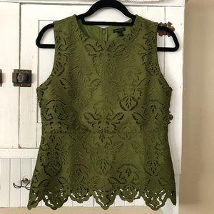Ann Taylor Green Lace Tank Top Shell Sz XS